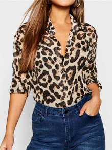 Brown Leopard Print Single Breasted Long Sleeve Fashion Blouse