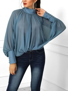 Blue Pleated Buttons Band Collar Dolman Sleeve Blouse
