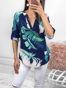 Navy Blue Palm Leaf Print Buttons V-neck Long Sleeve Fashion Blouse
