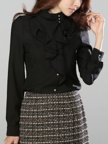 Black Buttons Ruffle Collar Long Sleeve Elegant Blouse