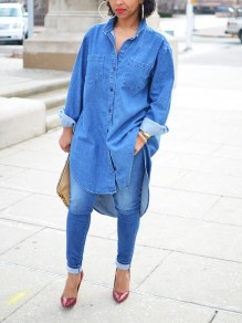 Blue Denim Pockets Swallowtail Single Breasted Irregular Turndown Collar Long Sleeve Fashion Blouse