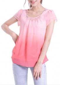 Pink Chain Collarless Short Sleeve Thin Chiffon Blouse