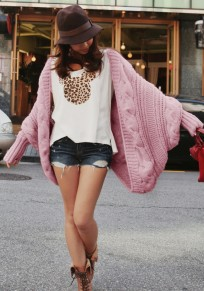 Pink Dolman Sleeve Long Shawl Loose Casual Cardigan