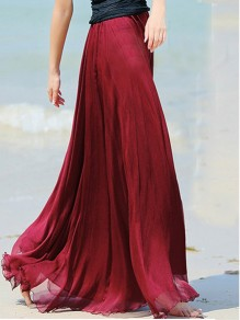 Wine Red Plain Draped Wavy Edge Bohemian Chiffon Skirt
