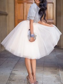 White Plain Draped Grenadine High Waisted Knee Length Sweet Skirt