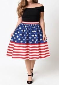 Gonna A strisce americano bandiera stampa a-line drappeggiato alto A vita multicolore