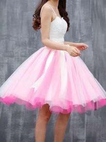 Gonna cravatta A farfalla plissè granata con cinturino in tulle A vita alta rosa-bianco