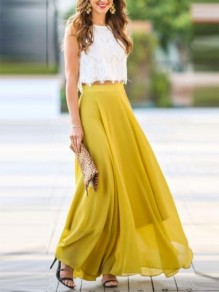 Yellow Patchwork Lace Draped Elastic Waist Elegant Skirt