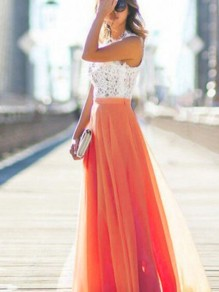 Orange Patchwork Lace Draped Elastic Waist Elegant Skirt