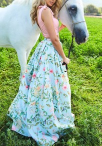 Green Floral Pleated A-Line High Waisted Sweet Elegant Party Country Skirt