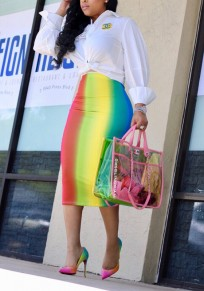 Yellow Color Block Omombre Rainbow Bodycon High Waisted Elegant Party Skirt