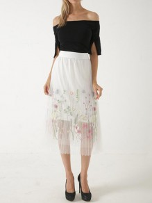 White Floral Print Pleated Embroidery Grenadine High Waisted Sweet Homecoming Party Tutu Skirt
