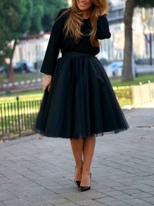 Black Grenadine Draped High Waisted Fashion Skirt