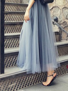 Grey Draped Double-deck Grenadine Fluffy Puffy Tulle High Waisted Casual Fashion Long Skirt