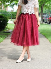Burgundy Maroon Patchwork Grenadine Pleated Plus Size High Waisted Tutu Cute Homecoming Party Skirt