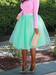 Green Patchwork Grenadine Pleated Fluffy Puffy Tulle Homecoming Party Skirt
