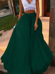 Green Draped High Waisted Fashion Party Chiffon Long Fashion Skirt