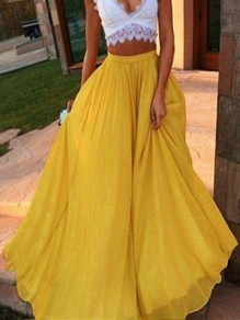 Yellow Draped High Waisted Fashion Party Chiffon Skirt