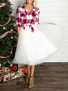 White Grenadine Fluffy Puffy Tulle High Waisted New Year's Eve Party Skirt
