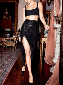 Black Pleated Irregular Side Slits PU Leather Latex Vinly High Waisted Party Skirt