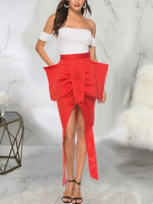 Red Big Bow Front Slit High-Low Bodycon New Year's Eve Party Skirt