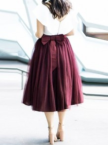 Burgundy Pleated Grenadine Bowknot Plus Size High Waisted Tutu Homecoming Party Midi Skirt