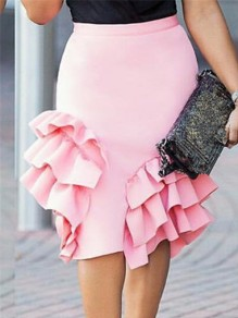 Pink Cascading Ruffle Bodycon High Waisted Party Long Skirt
