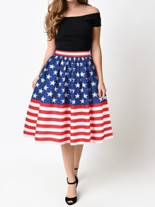 Red-White Striped Elastic Waist High Waisted American Flag Tutu Skirt