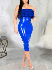 Blue PU Leather Latex Bubble Vinly High Waisted Party Long Skirt