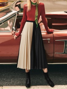 Apricot Pleated Hit Color Elastic Waist Flowy Ladies Fashion Going out Skirt
