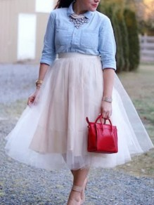Apricot Grenadine Fluffy Puffy Tulle Tutu High Waisted Homecoming Party Skirt