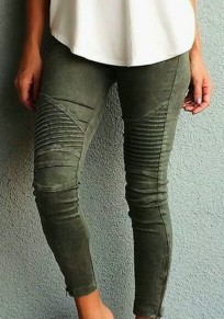 Army Green Plain Pockets Buttons Mid-rise Casual Long Jeans