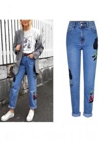 Jeans lunghi tasche con cerniera floreali vita alta fidanzato blu