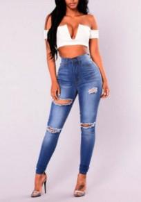 Jeans lunghi cerniera strappata strappata distrutta denim strappato vita alta blu