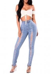 Jeans stringate A vita alta con lacci casuale sottile blu chiaro