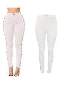 Jeans vita alta con spacco A fessura stringato casuale sottile bianco