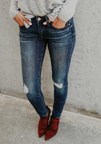 Dark Blue Patchwork Pockets Buttons Cut Out High Waisted Casual Long Jeans