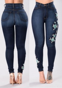 Jeans ricamo mamma A vita alta sottile push up stretch femminile denim blu