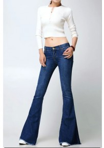 Dark Blue Pockets Buttons High Waisted Mom Flare Long Flare Bell Bottom Jeans