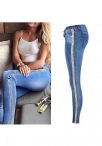 Jeans lunghi bottoni glitterati paillettes tasche A vita alta mamma fidanzato casuale blu