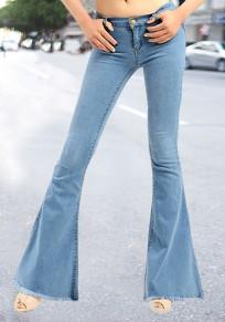 Jeans tasche con bottoni nappa A vita alta lungo boyfriend flare azzurro