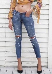 Light Blue Patchwork Pearl Cut Out Pockets Fashion Skinny Ripped Long Jeans