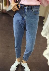 Jeans tasche con bottoni con cerniera A vita alta moda nove azzurro
