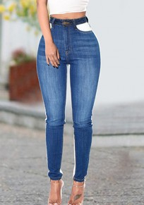 Blue Color Block Buttons Pockets High Waisted Casual Long Jeans