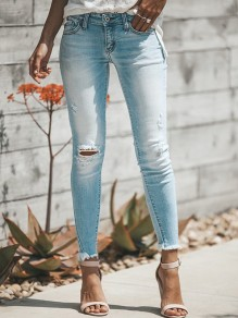 Light Blue Buttons Cut Out Pockets Zipper Fashion Long Jeans