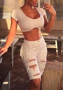 Jeans corti tasche ritagliate strappate più alla moda clubwear alla moda A vita alta bianco