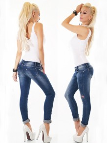 Blue Patchwork Zipper Embroidery Buttons High Waisted Casual Long Jeans