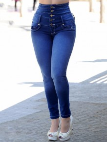 Blue Single Breasted Pockets Bodycon Denim High Waisted Casual Long Mom Jean