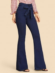 Dark Blue Pockets Bow Zipper High Waisted Long Flare Jeans