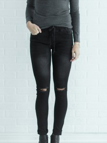 Black Cut Out Pockets Drawstring High Waisted Long Jeans